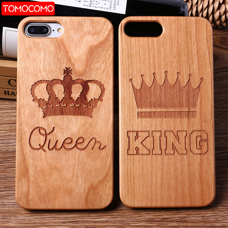 TOMOCOMO For iPhone 6 6S 6Plus 7 7Plus King Queen Crown World Map Paisley Praying Real Wood Phone Case For SAMSUNG S8 S9 Plus