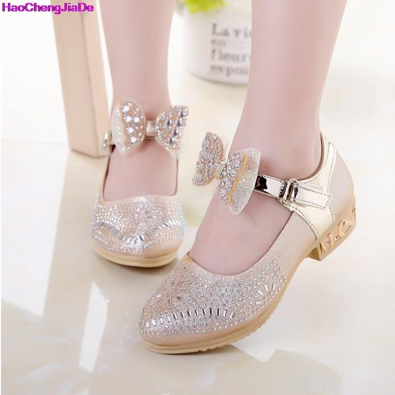 HaoChengJiaDe enfants chaussures automne filles princesse en cuir chaussures arc strass enfants robe de mariage chaussures filles espadrilles décontractées