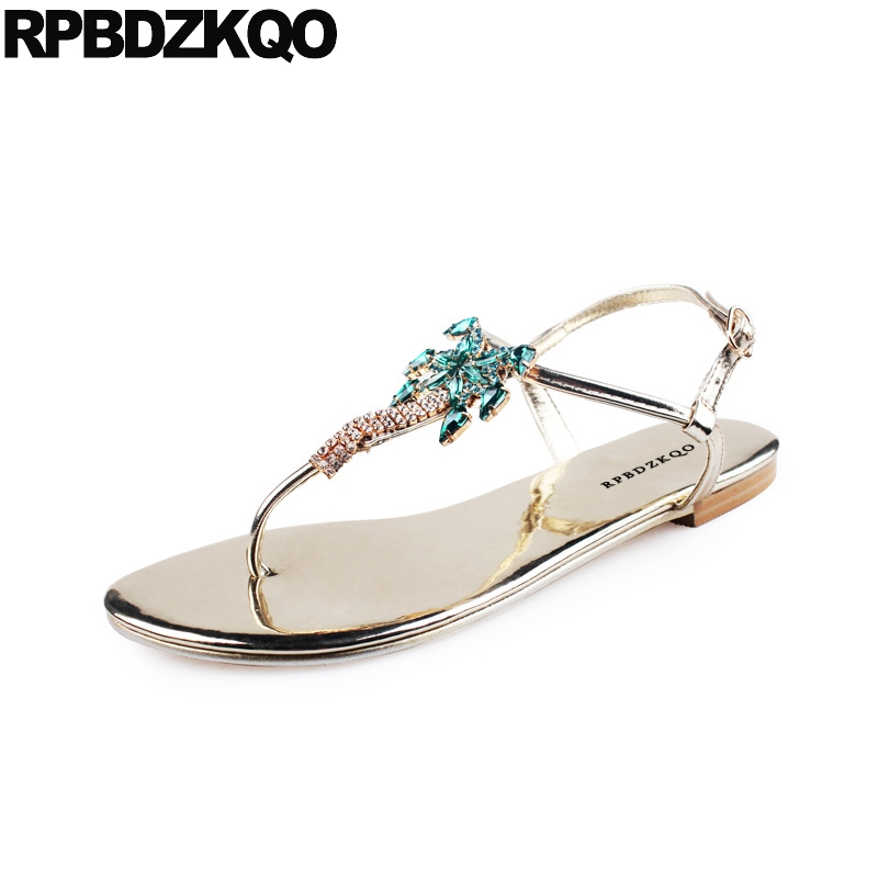 Rhinestone Embellished Jewel Shoes Sandals Leisure Fashion Bohemia Style Thong Silver Women T Strap Diamond Flat Crystal Gold ladylike elegant style rhinestone embellished bowknot shape women s hairpin