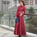 2017 primavera e no outono moda red impresso ultra long dress o pescoço babados cintura fina limpar o chão vestido longo-sleeved mulher dress