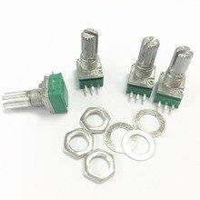 100 unids/pack interruptor amplificador de audio potenciómetro sellado B50K 15MM 3 pines con tuercas 50K potenciómetro lineal