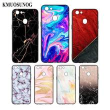 Silicone Phone Bag For OPPO F5 F7 F9 A5 A7 R9S R15 R17 Black Soft Case Gold Pink marble Style