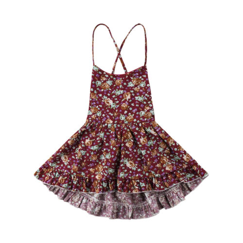 Children Girl Sundress Daily Lovely Soft Toddler Baby Girls Dress Sleeveless Princess Party Pageant Dresses Kids Clothes Print