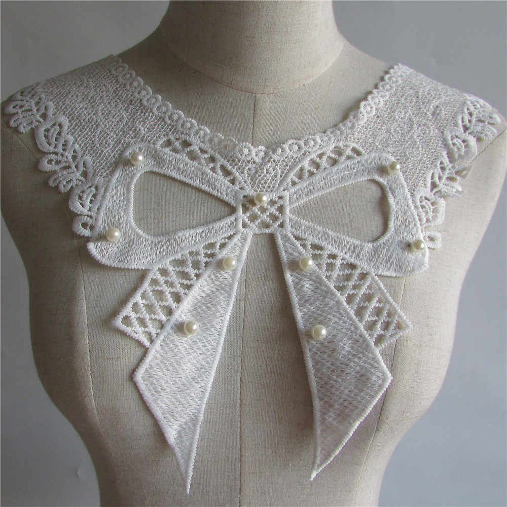 white pearl Embroidered Lace Collar Neckline Venise Applique Embroidery Sewing on Patch Fabric DIY Trim Dress Accessories YL107