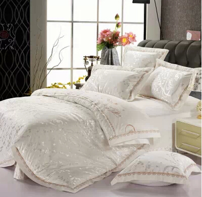modern white silk satin cotton bedspreads gold embroidered. Black Bedroom Furniture Sets. Home Design Ideas