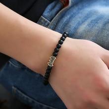 все цены на HOBBORN Trendy 6mm Natural Stone Bracelet Women Men Handmade Black Matte Onyx Healing Reiki Prayer Balance Batmen Yoga Bracelets