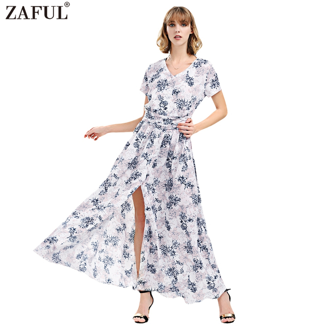 ccbcba08c19 Women Summer Bohemian Beach Maxi Dress Floral Pattern Print Short Sleeves  Sexy Split Long Dresses Cotton Casual Sundress