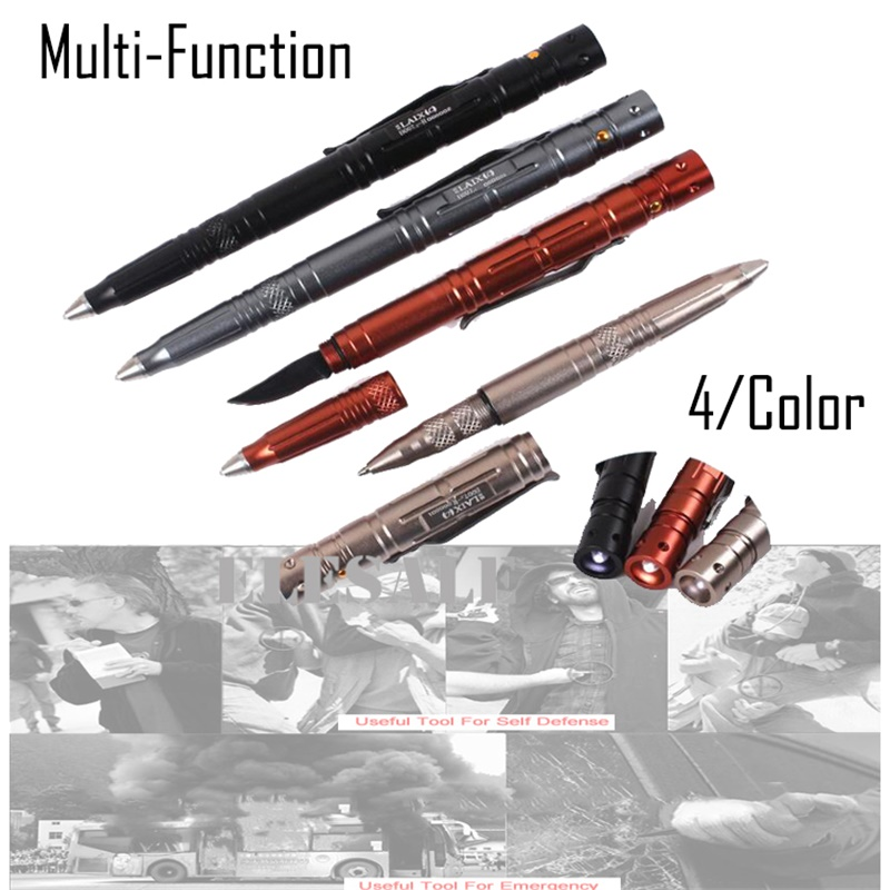New Antiskid Tactical Pen Multi-tool With Knife LED Light Aviation Aluminum Self Defense Supplies Emergency Kit Outdoor Camping  new antiskid tactical pen multi tool with knife led light aviation aluminum self defense supplies emergency kit outdoor camping