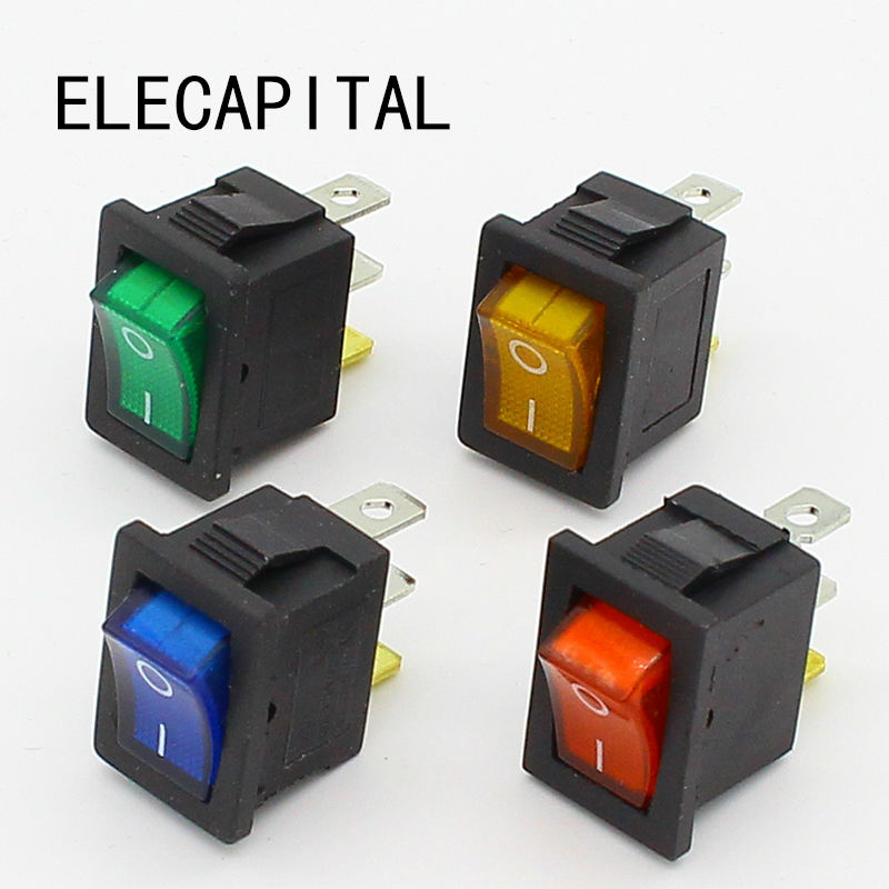 1pcs Mini 3 Pin Dashboard On Off Position Rocker Switch Illuminated Spst with Light 250vac 15a 125vac 20a 4 pin 2 position dpst on off snap in rocker switch kcd2 201n