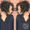 "Afro Short Wigs For Black Women 8"" Short Curly Wavy Black Wig Cheap Synthetic Wigs For Women African American Female Wig"