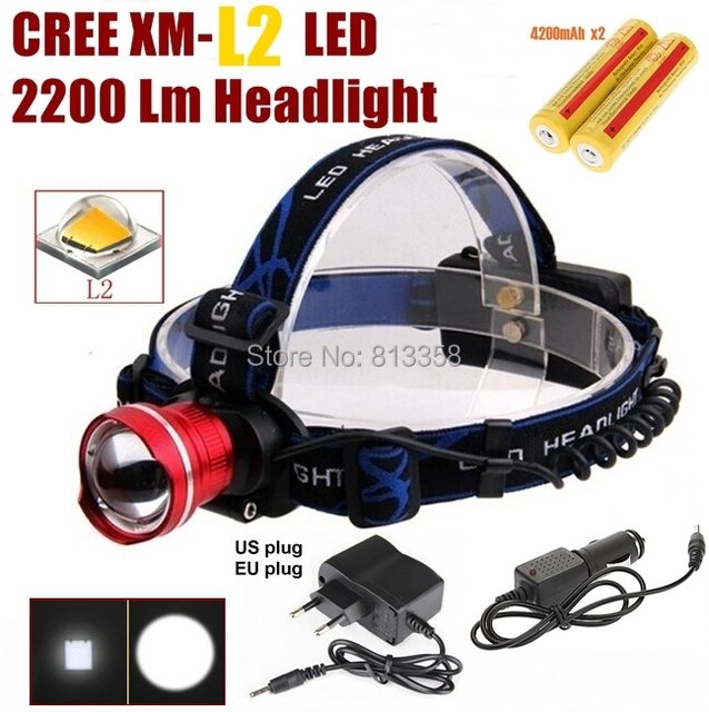 AloneFire HP87 Cree XM-L2 LED 2200LM ZOOM led Head light Head lamp+AC Charger/Car charger/2x4200mAh 18650 rechargeable battery
