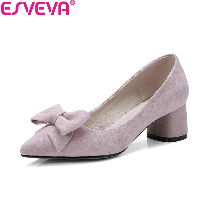 ESVEVA 2018 Women Pumps Kid Suede PU Square Med Heels Spring Autumn Slip on Pointed Toe Butterfly-knot Women Shoes Size 34-40 2017 spring women retro pumps solid slip on sweet butterfly knot round toe med square thick heels shallow female shoes plus size