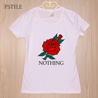 Pstyle Nothing Letter Print T Shirt Rose Harajuku T Shirt Women 2018 Summer Casual Short Sleeve