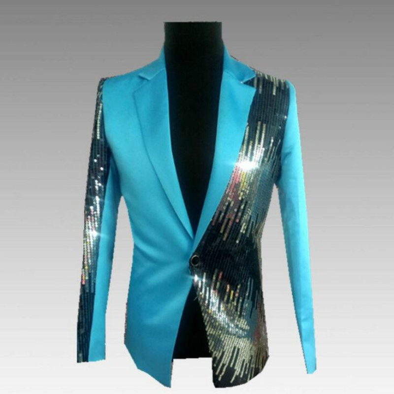 European And American Style Men's Suits Pink Gradient Sequins Slim New Studio Photo Ceremonies Hosted Suit Jacket