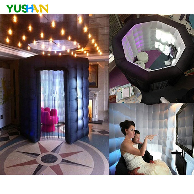 Rental 8t black Or white Octagon portable photo booth tent oxford fabric octagon inflatable photo booth with Roof Booth Hot sale