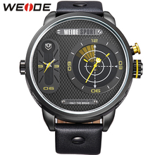 цена WEIDE Man Top Luxury Fashion Sports Casual Business Model Quartz Date Clock Leather Strap Military Wrist Watch Relogio Masculino онлайн в 2017 году