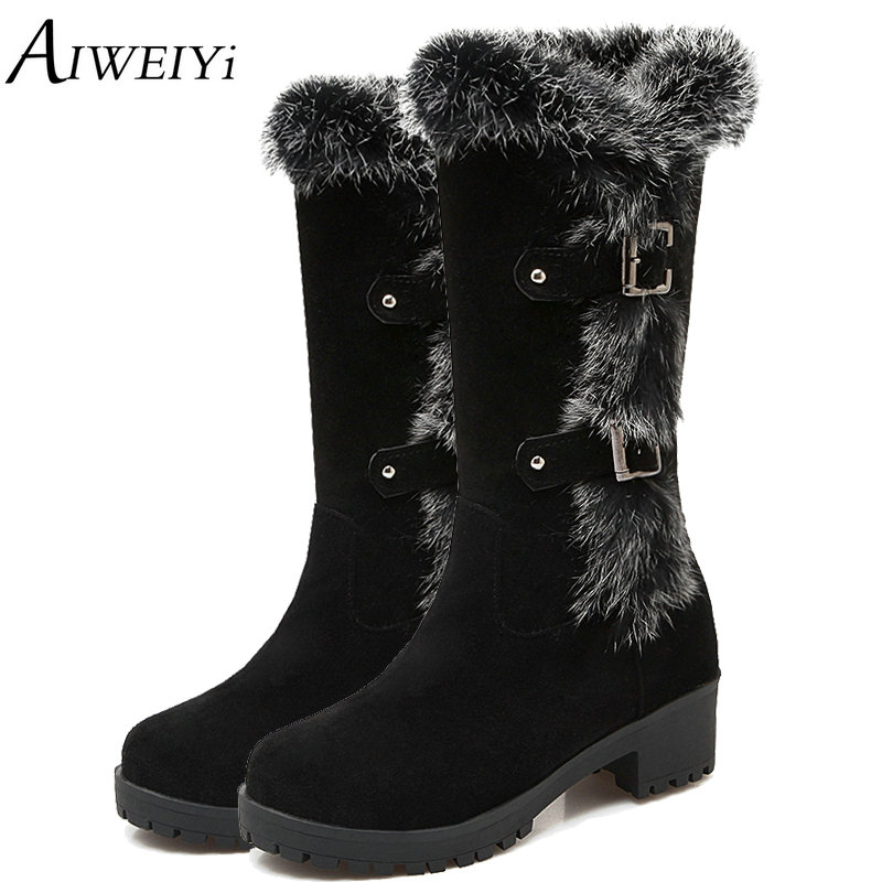 AIWEIYi Autumn Thermal Knee-high Slip-resistant Waterproof Snow Faux Suede Leather Rabbit Fur Winter Women Boots Shoes Woman faux fur buckle knee high snow boots