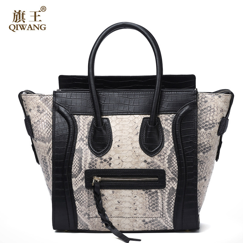 Bags Handbags Women Famous Brands Gray White Trapeze Totes Ladies Shouldre Bag 100% Genuine Leather Handbags bolsa feminina famous brands women top handle bags pu leather femme bag ladies handbags classical rose flower design bolsa feminina 2018 new