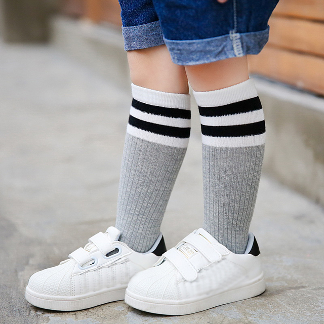 Baby Kids Girls Boys Knee High Socks Winter Warm Breathable Striped