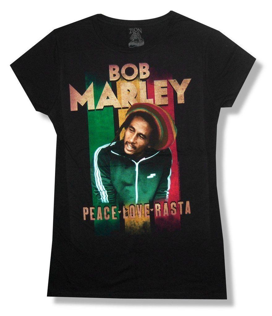 Bob Marley Rasta Peace Love Girls Juniors Black Shirt New Official