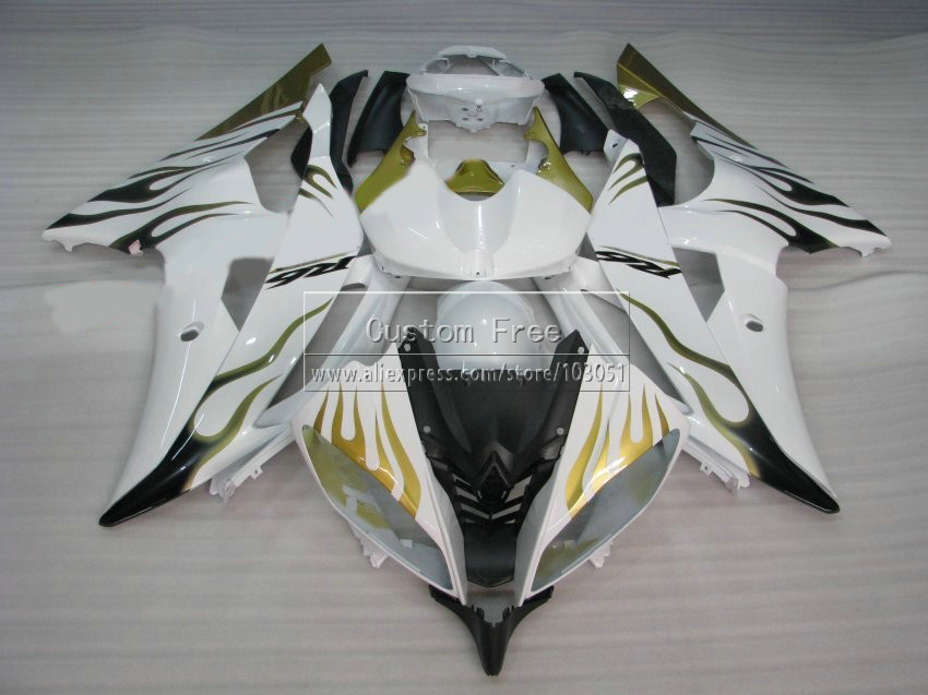 Injection mold plastic fairing kit For YAMAHA YZF R6 2008 -2013 2014 green flames in white fairings set YZFR6 08 09 10-14 JL69 plastic injection mold for car monitor shell in 2 cavities