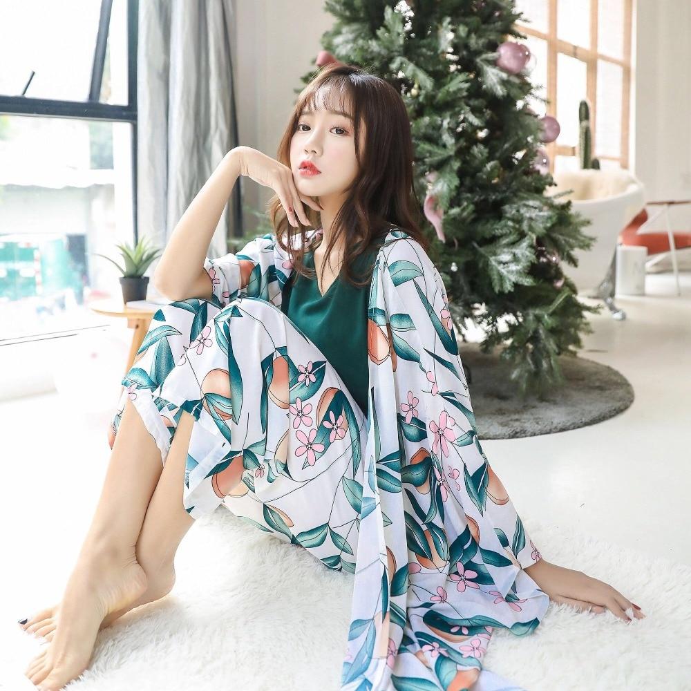 Image 5 - Плюс размер, Хлопковая пижама, Женский пижамный комплект, сексуальный топ с длинным рукавом, штаны, шорты, 4 штуки, домашняя одежда, женский цветочный Пижамный костюм-in Комплекты пижам from Нижнее белье и пижамы on AliExpress - 11.11_Double 11_Singles' Day