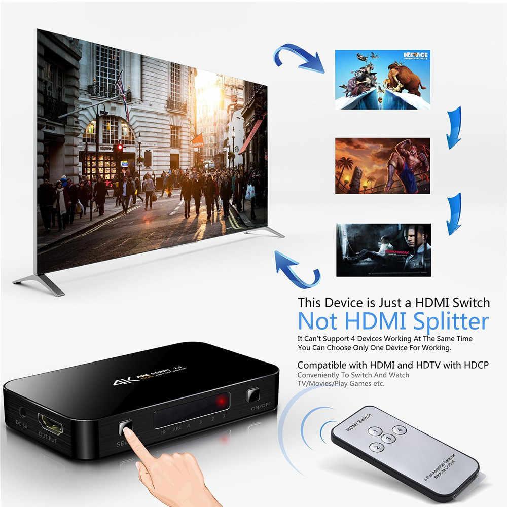 Mini 4 Port 4x1 HDMI Schalter Ultra HD 4K @ 60Hz HDMI 2,0 HDCP 2,2 4 in 1 Out Switcher Box Mit IR Control Für PS4 Apple TV HDTV
