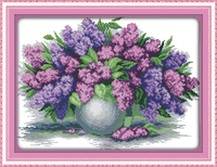 Lavender Vase 11CT 14CT Counted Cross Stitch Pattern Flower Cross Stitch Kits For Embroidery Needlework Home