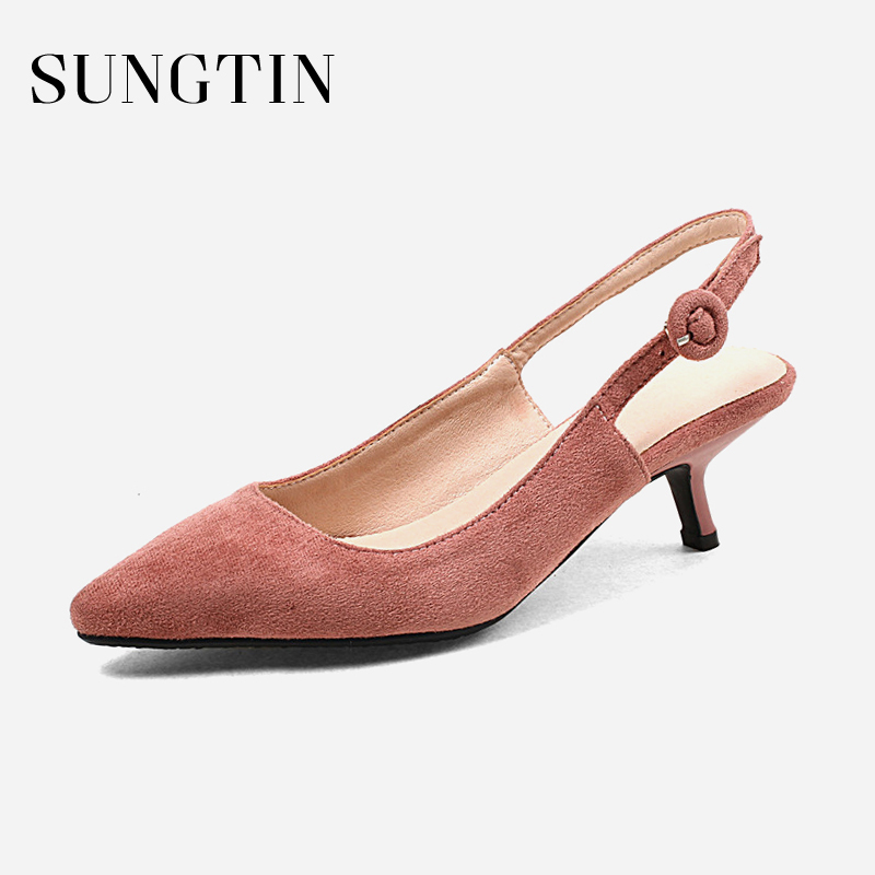 Sungtin Sweet Suede Slingback Pumps Women Pointed Toe Mid Kitten Heels Summer Shoes Lady Buckle Strap Party Pumps Large Size elegant women s pumps with suede and slingback design