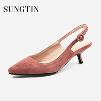 Sungtin Sweet Suede Slingback Pumps Women Pointed Toe Mid Kitten Heels Summer Shoes Lady Buckle Strap Party Pumps Large Size