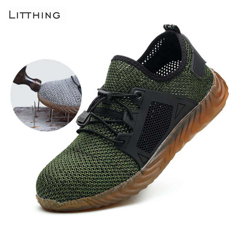 Litthing 2019 Men's Breathable Safety Shoes Outdoor Indestructible Anti-smashing Steel Toe Lightweight Sneaker Ryder Work Shoes