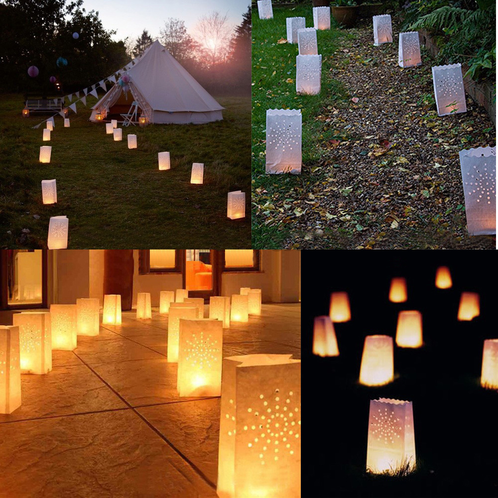10pcs Festival Lantern Heart Tea Light Holder Luminaria Paper Lantern Candle Bag For Wedding Party Home Decoration Supplies