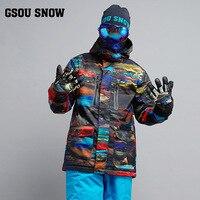 Gsou снег Новый Лыжный Спорт костюм Для мужчин зимние белые толстые ветрозащитный Теплый Лыжный спорт куртка Открытый Водонепроницаемый дыш
