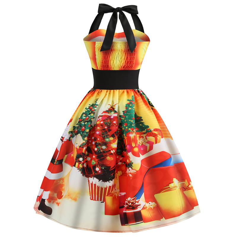 Christmas Dress for Women halter neck Vintage Elegant Party Dress Casual Summer Sleeveless Floral 50s Dresses Plus Size Vestidos