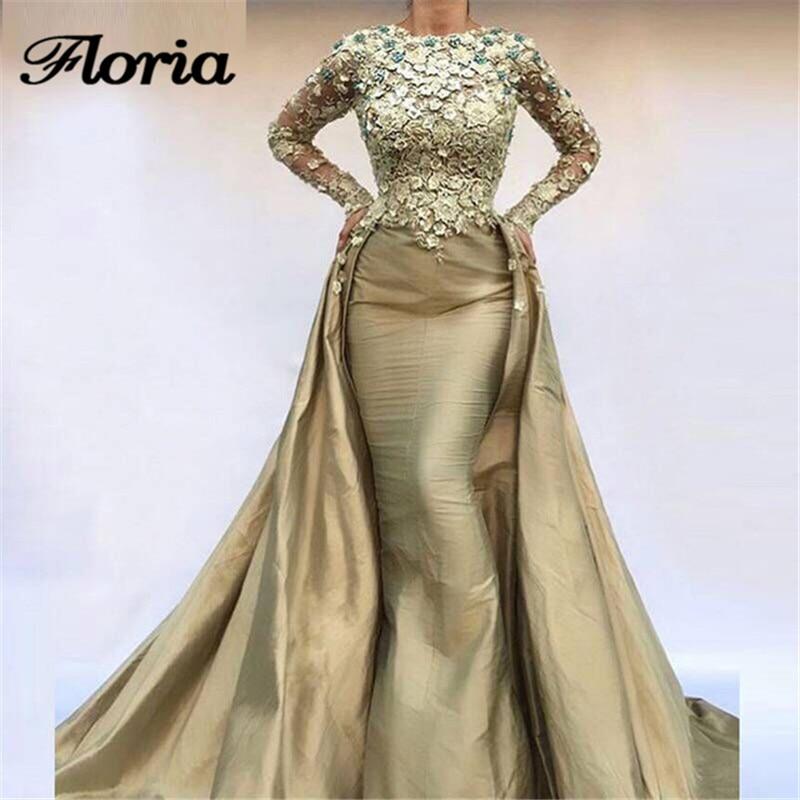 African Mermaid   Evening     Dresses   Long Sleeves In Dubai Muslim Arabic Lace Formal Prom   Dress   Appliques Party Gown Vestido de festa