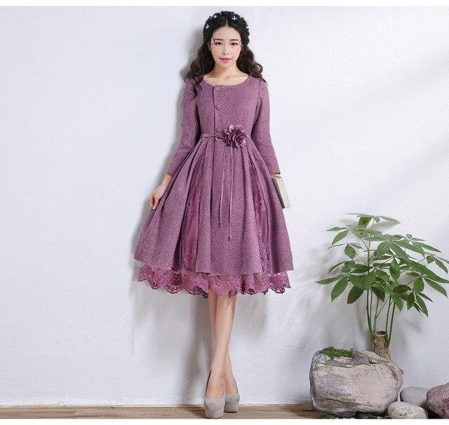 2017 Осень Новая Мода Длинный Тонкий Кружева Шить Пальто женщин Фиолетовый Длинные Плащи