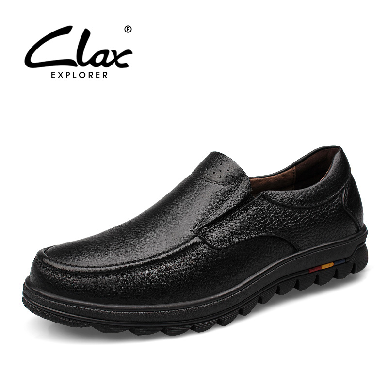 CLAX Men Formal Shoes Slip on 2018 Autumn Black Dress Loafers Male Genuine Leather Footwear Bussiness Office Shoe Handmade Soft clax men shoes luxury brand loafers genuine leather male driving shoes slip on black dress shoe moccasin designer classical