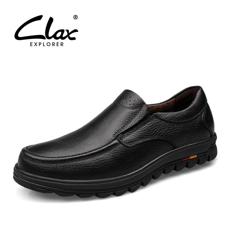 CLAX Men Formal Shoes Slip on 2018 Autumn Black Dress Loafers Male Genuine Leather Footwear Bussiness Office Shoe Handmade Soft clax men leather loafers designer 2018 men s moccasin genuine leather black male dress shoe slipony classic luxury brand
