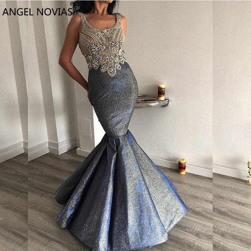 ANGEL NOVIAS Long Grey Mermaid Backless Arabic   Evening     Dress   2018 Glitter Crystals Vestido Sirena Largo