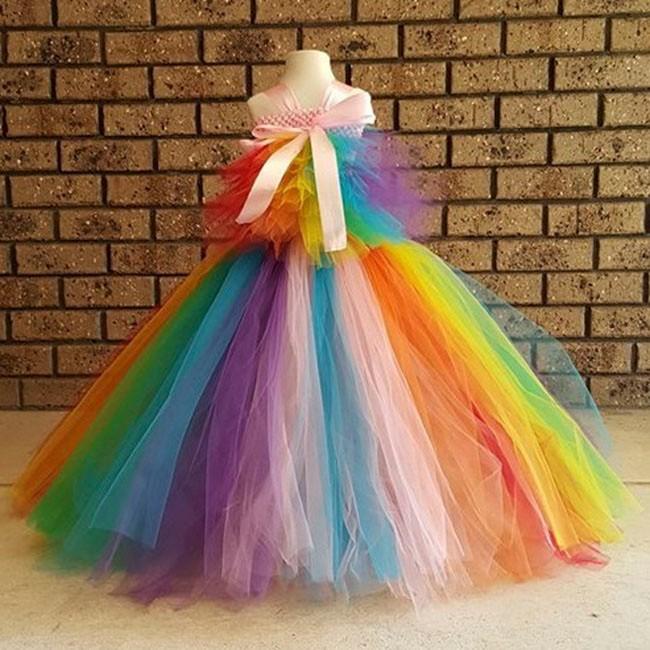 Rainbow Tutu Inspired Pony costume - Rainbow Birthday party, Tea party, size 31