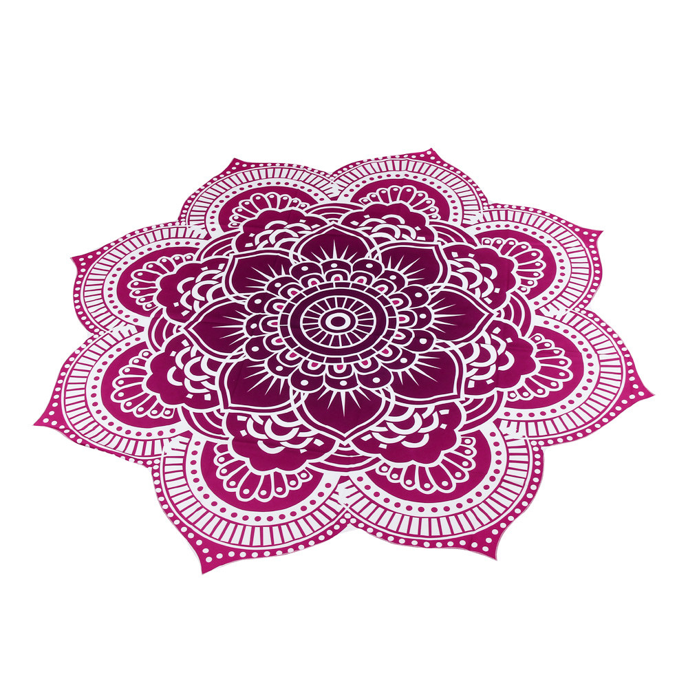 Woweile Essential New Red Color Polyester 150cm Round Beach Pool Home Shower Towel Blanket Table Cloth Yoga Mat
