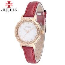 Роскошные Натуральная кожа наручные часы женщины платье горный хрусталь часы моды случайные кварцевые часы Марка Julius 757 лучший подарок часы