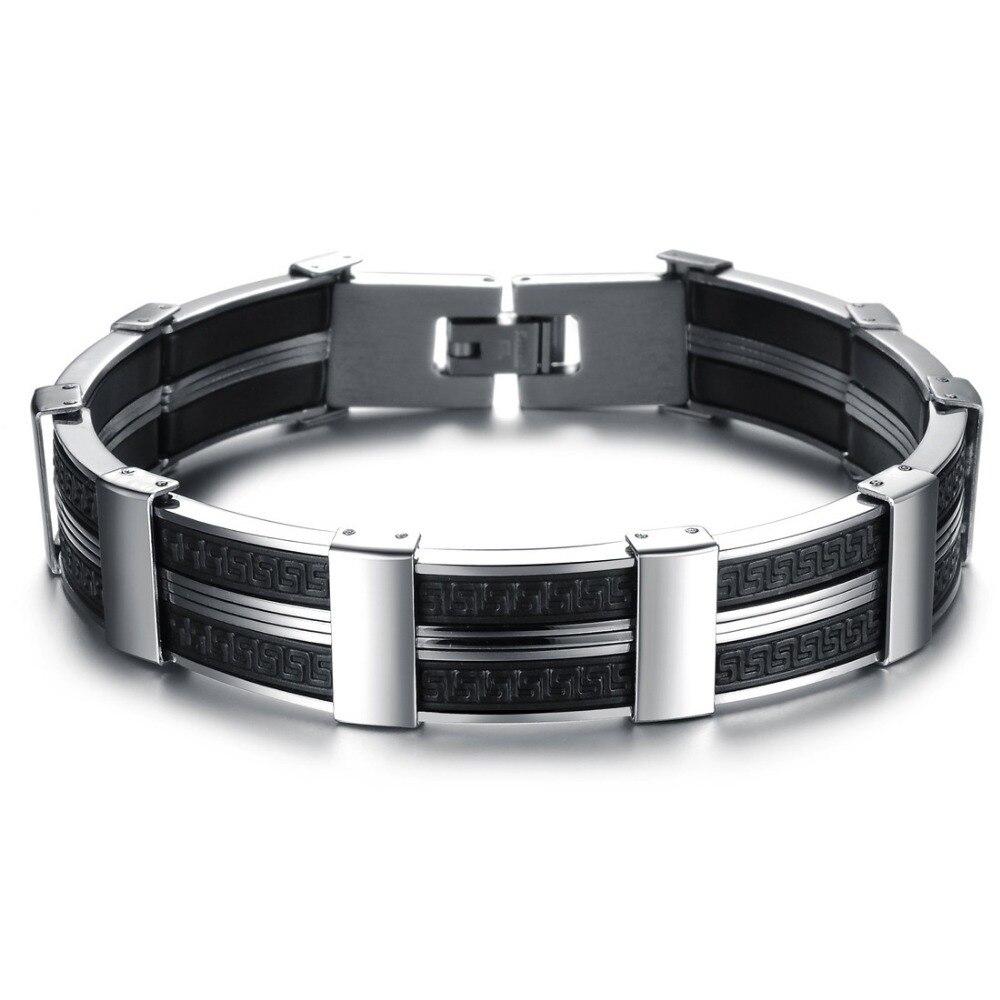 Mens Jewelry Stainless Steel & Black Silicone Link Chain Bracelets Bangles  For Men Designer Mens Bracelets Bracciale Wristbandin Chain & Link  Bracelets