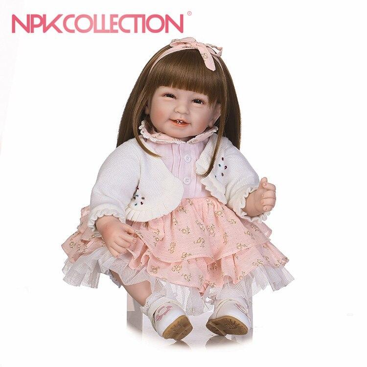NPKCOLLECTION Bebes Reborn Dolls menina de Silicone Girl 22Inch Adora Doll Toys For Girls boneca Baby