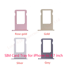 Wholesale 50pcs lot Original New Sim Card Tray Slot Holder Replacement Parts For iPhone 6S 4