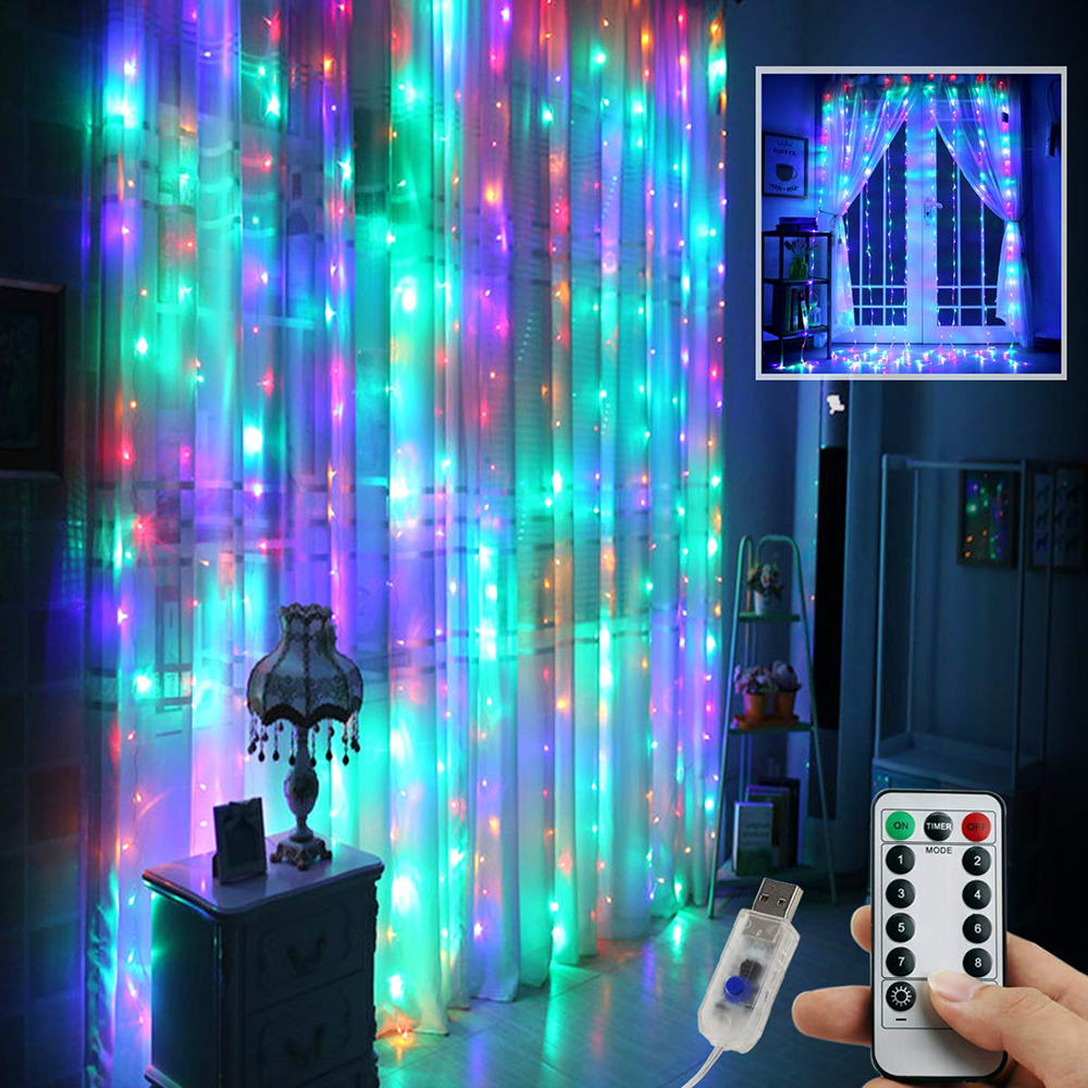3MX3M 300LED Remote Control LED Curtain String Lights Sound Music Activated USB Curtain String Lights +Hanging Hook Fairy Lights