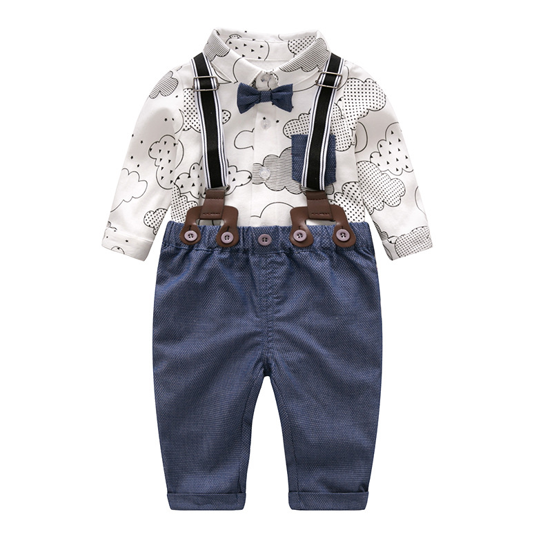 Newborn Baby Boy Clothes Formal Set 2018 New Style Cotton Bow Gentleman Toddler Boy Party Outfit Clothing Romper + Belt Pants 3pcs set baby boy clothes newborn gentleman baby clothing shirt vest pants baby boy clothing set