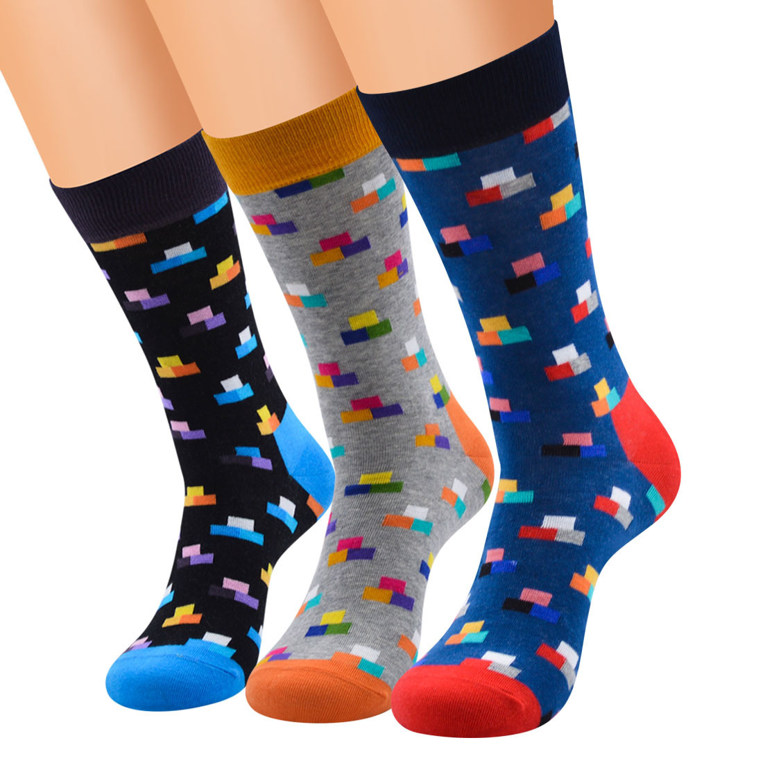 2019 Hot Sale Casual Men   Socks   New   Socks   Fashion Design Plaid Colorful Happy Party Dress Cotton Sokken For Business