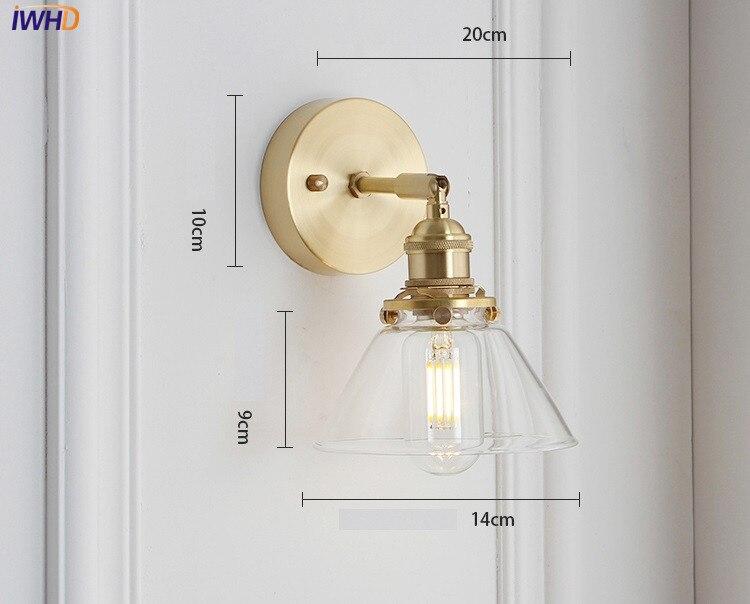 Iwhd rame lampada da parete in vetro vintage camera da letto luce