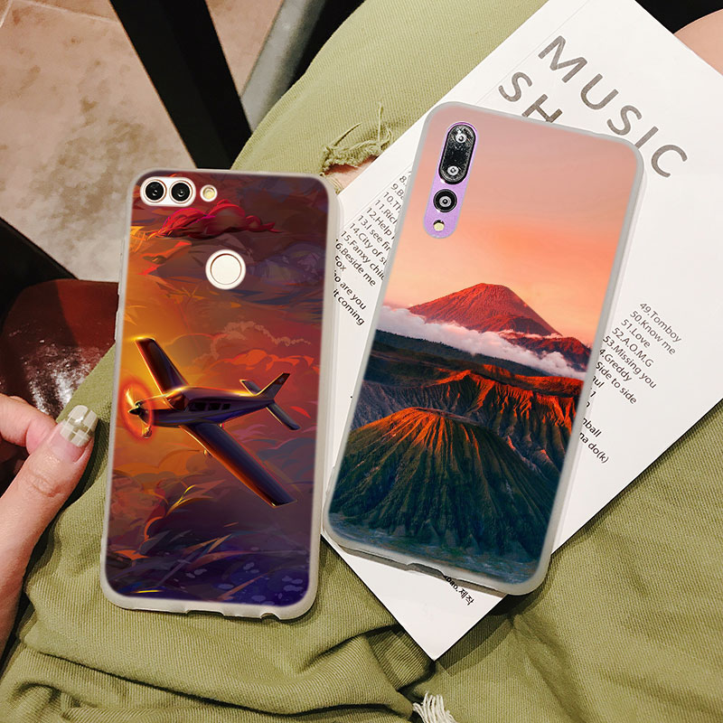 Silicone Case Sun set and riase for Huawei P Smart 2019 Plus P30 P20 P10 P9 P8 Lite Mate 20 10 Pro Lite Nova 3i Cover in Fitted Cases from Cellphones Telecommunications